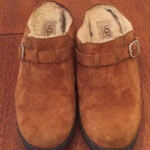 UGG Brown Suede Clog Slip on Buckle Heavy Sole 8 M